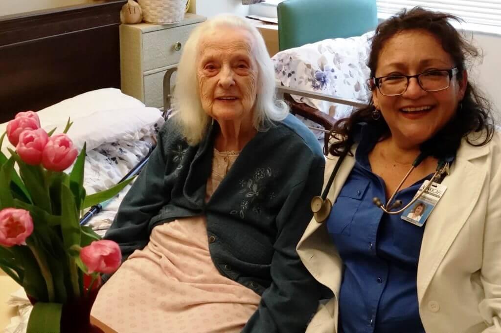 Caregiver and elderly patient