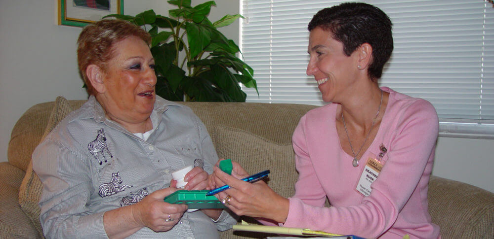 A caregiver and a patient